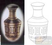 艺术玻璃图-肌理雕刻系列1-陶罐-00036