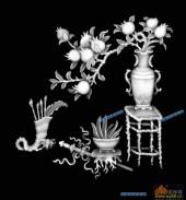 四季花1-石榴多子-004-四季花浮雕灰度图