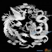 龙凤图-龙凤呈祥-006-龙凤精雕灰度图