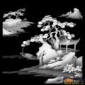 山水 凉亭 树-灰度图