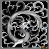草龙-团龙-082-龙凤灰度图