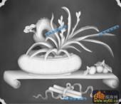 古董架001-兰草-012-古董架灰度图案