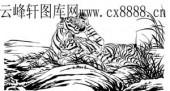 虎第四版-矢量图-风虎云龙-19-虎雕刻图案