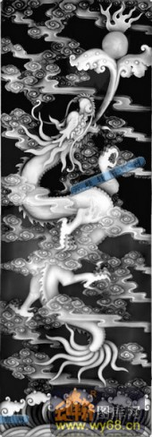02-龙戏-023-龙凤精雕灰度图