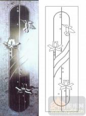 玻璃门-浮雕贴片-荷花-00061