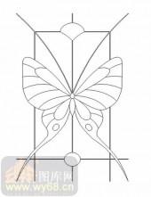 喷砂玻璃图库-11门窗组合-蝴蝶-00033