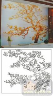2011设计艺术玻璃刻绘-玉兰-装饰玻璃