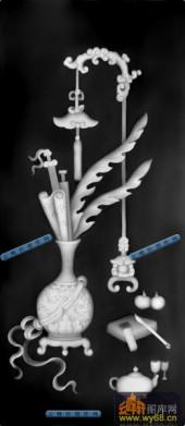 古董架001-花肚瓶-001-古董架灰度图案