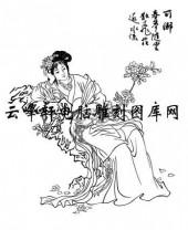 中国国画白描仕女3-矢量图-91秦可卿-矢量仕女图