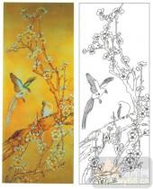 2011设计艺术玻璃刻绘-梅花鸟-雕刻玻璃