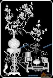 04-古雅-073-花鸟浮雕灰度图