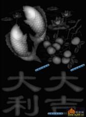 鱼图-双鱼-003-浮雕灰度图