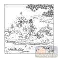 16古典人物-西施浣纱-00054-喷砂玻璃