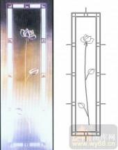 喷砂玻璃-浮雕贴片-荷花-00074