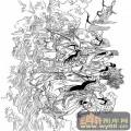 八仙-白描图-八仙过海7-八仙高清雕刻图案