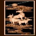 三羊开泰背板-浮雕雕刻图案
