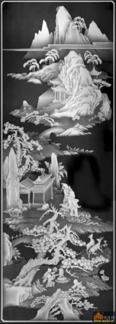 八仙图-亭台楼阁-01-浮雕灰度图