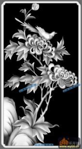 04-菊花-056-花鸟浮雕图库