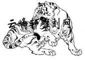 虎3-矢量图-狼吞虎咽-104-虎雕刻图案
