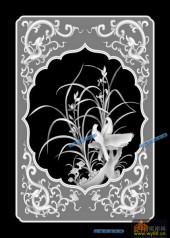 04-兰花草-077-花鸟雕刻灰度图