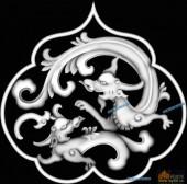 草龙-龙纹-090-龙凤灰度图案