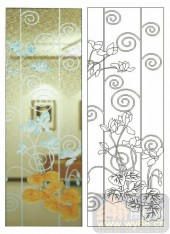 2011设计艺术玻璃刻绘-花卉-081图-玻璃雕刻