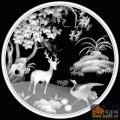 树 鹿 鹤-灰度图电脑雕刻图