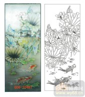 2011设计艺术玻璃刻绘-荷花鱼-喷砂玻璃图库