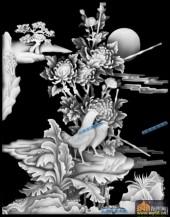 四季花鸟-菊花1-四季花鸟综合雕刻灰度图