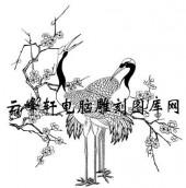 白描仙鹤-矢量图-梅花仙鹤-1-仙鹤雕刻图片