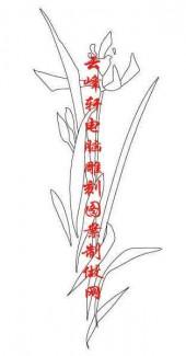 梅兰竹菊-白描图-兰草-mlxj025-梅兰竹菊白描线描图