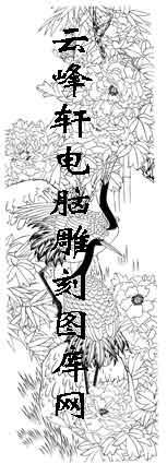 白描仙鹤-矢量图-牡丹仙鹤-26-仙鹤路径图