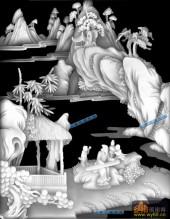 琴棋书画003-抚琴-琴-琴棋书画灰度图案