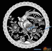 圆盘雕图灰度图-023-花鸟-001-圆盘雕图浮雕灰度图