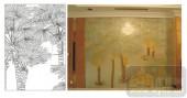 2011设计艺术玻璃刻绘-吉星高照-艺术玻璃