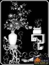 八宝009-月季-月季花-雕刻灰度图