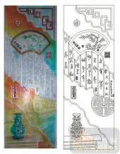 2011设计艺术玻璃刻绘-清风雅韵-雕刻玻璃图案