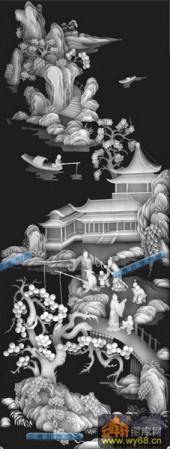 01-垂钓图-089-花鸟浮雕灰度图