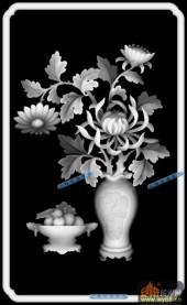 04-菊花-061-花鸟浮雕灰度图