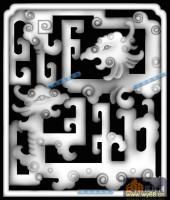 02-龙纹-012-龙凤灰度图案
