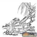 1马企周十八罗汉-白描图-7第七骑象罗汉:迦理迦尊者-罗汉全图
