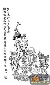 1马企周十八罗汉-矢量图-15第十五长眉罗汉:阿氏多尊-中国传统罗汉图