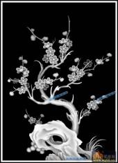 04-梅花-066-花鸟灰度图