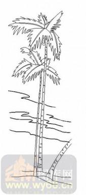 雕刻玻璃-08四扇门(4)-椰子树-00107