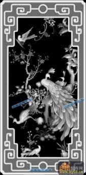 04-孔雀-023-花鸟浮雕灰度图