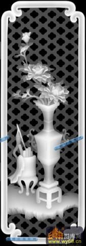 古董架001-花枝-023-古董架浮雕灰度图