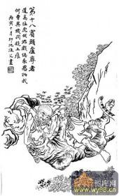 1马企周十八罗汉-矢量图-18第十八伏虎罗汉:宾头卢尊-中国国画矢量罗汉