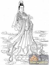 观音-白描图-49红莲观音-电子版观音菩萨
