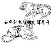 虎1-矢量图-潜龙伏虎-22-虎雕刻图案