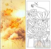 05肌理雕刻系列样图-荷花蜻蜓-00087-雕刻玻璃图案